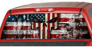 American Flag Distressed Punisher Skull Rear Window Perforated Decal Truck Ute