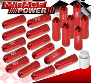 For Subaru 12mmx1 25mm Locking Lug Nuts Thread Pitch Drag Performance Rim Red