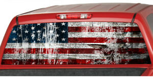 American Flag Distressed Rear Window Perforated Decal See Through Graphic Tint