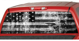 American Flag B w Distressed Rear Window Perforated Decal See Through Graphic