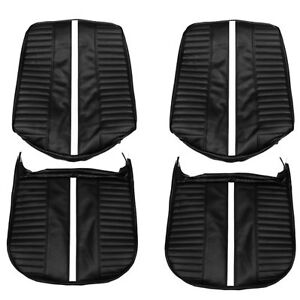1967 Chevy Ii Nova Ss Front Black Bucket Seat Covers W stripe Pui 67xs10u In Stk