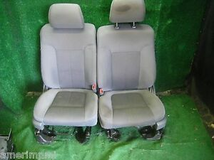 09 14 Ford F150 Truck Crew Cab Front Gray Cloth Bucket Seats