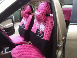18 Pcs Set Cartoon Hello Kitty Car Seat Cover Universal Polka Dots Accessories