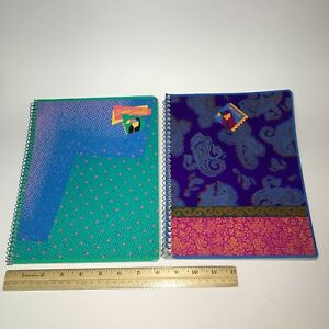 2 Vintage Mead Spiral Supershades Notebooks Blue Pages Partially Used 8x 10 1 2