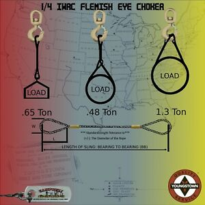Choker Sling Wire Rope 1 4 X 17 Staging Backdrop Rigging Logging Towing Crane
