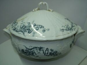 Antique 19c Imperial Russia Gardner Marked Porcelain Tureen Lid H 10 L 14 5