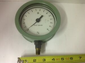 Vintage Ashcroft Bronze Tube Brass Socket 0 15 Psi Test Gauge Free Shipping