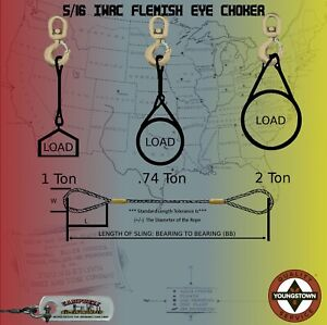 Steel Cable Choker Sling Wire Rope 5 16 X 25 Iwrc Flemish Eye Lifting Rigging