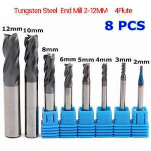8pcs 4 Flutes Carbide End Mill Set Tungsten Steel Milling Cutter Tool Cnc 2 12mm