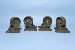 4 Antique Bond Industrial Caster Cart Wheels