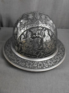 Vintage Msa Panorama Engraved Decorated Aluminum Safety Helmet Hard Hat