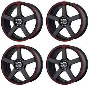 Motegi Racing Mr116 Mr11677046740 Rims Set Of 4 17x7 40mm Offset 5x112 Black red