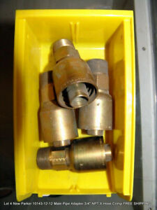 Lot 4 Parker 10143 12 12 Male Pipe Adapter 3 4 Npt X Hose Crimp Free Shipping