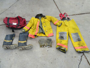 Full ppe Firefighter Turnout Bunker Gear Jacket Pants Boots Gloves 3