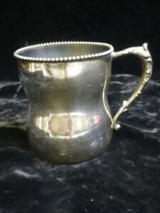 Antique International Silver Co Sterling Youth Mug Beaded Rim Circa 1900 C 1109