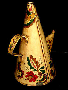 13 Antique Toleware Sperm Whale Oil Oiler Can Galvinazed Painted Tin Lamp 19thc