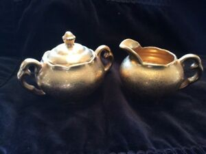 Osborne China Hand Painted 22kt Gold Creamer And Covered Sugar Bowl Set