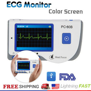Portable Handheld Heal Force Color Ecg Ekg Heart Monitor Lead Cable