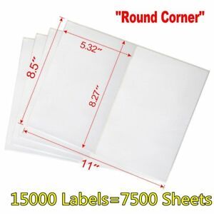 15000 Half Sheet Shipping Labels 8 5x5 5 Round Corner Self Adhesive For Usps Ups