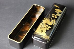 Antique Japanese Old Lacquer Ware Letters Box Gold Fubako From Japan 400