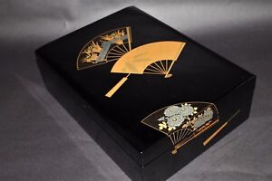Vintage Japanese Old Lacquer Ware Letters Box Nakie Gold Fubako From Japan A406