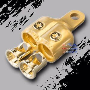 Gold Dual 4 8 Awg Gauge Ring Battery Terminal Adapters Marine Grade Audio Utv Us