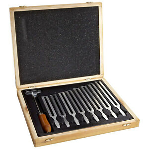 Tuning Fork Boxed Set Includes 8 Forks 1 Mallet And Wooden Storage Box
