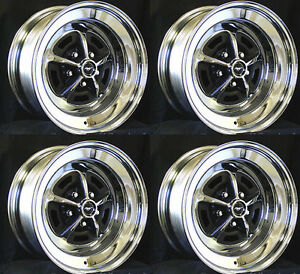 New Mustang Magnum 500 Wheels 15 X 8 And 15 X 7 Complete Kit With Caps Nuts