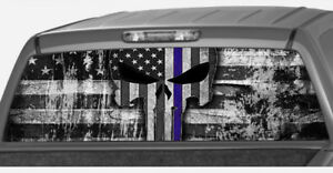 American Flag Punisher Blue Police Line Skull Rear Window Decal Pickup Truck