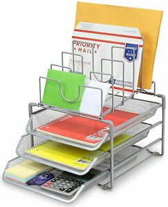Desktop Organizer File Sorter Silver Mesh 3 Letter Trays 5 Upright Supply Holder