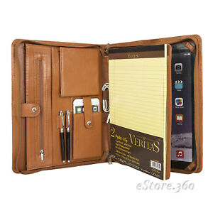 Cowhide Leather Portfolio Zippered Organizer Pad Card Holder Case Note Folder