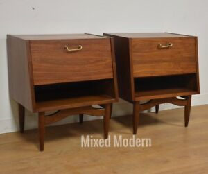 American Of Martinsville Night Stands A Pair Mid Century Modern Walnut
