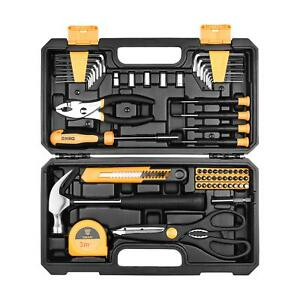 62 Piece Tool Set General Household Hand Tool Kit W Plastic Toolbox Storage Case