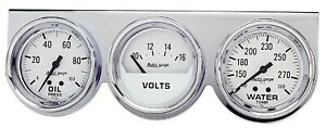 Auto Meter 2329 Universal White Console With 2 5 8 Oil Water Volts Gauges