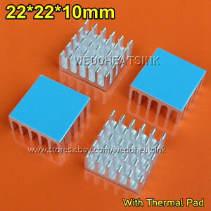 100pcs High Power Radiator Heat Sink 22x22x10mm With Thermal Tape For Cpu Ic Vga