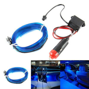 Auto Car Interior Led Decorative Wire Strip Atmosphere Cold Blue Light Universal
