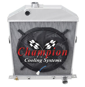 1942 1948 Ford Coupe Chevrolet Configuration 3 Row Sr Radiator W 16 Fan