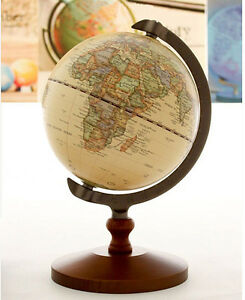 5 Vintage Antique Desktop Table Decorative Wood Globe Earth World Map Globe