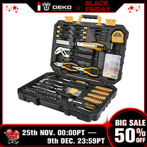 Deko 196 Piece General Household Hand Tool Kit With Rip Claw Hammer Tool Set