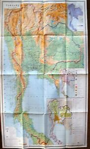Vintage Soviet Wall Map Thailand Moscow 1977 M 1 2 000 000