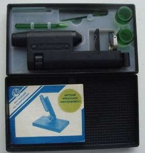 Cccp Vintage Soviet Microoscope For Kids Naturalist Original Box Manual Id