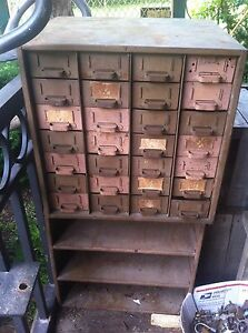 Vintage Metal 27 Drawer Metal Industrial Parts Bin With Shelf
