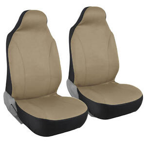 Bucket Seat Covers Highback Front Pair Solid Beige 2pc Car Suv Truck