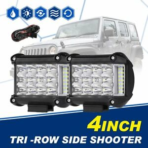 2x 4 95w Cree Side Shooter Tri row Led Work Light Bar Combo Driving Fogs Pods