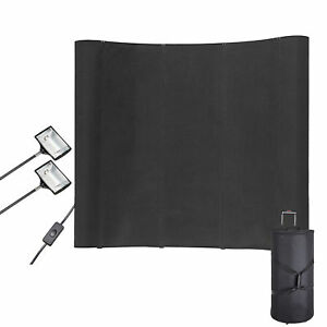 Wfs323 8ft Portable Display Trade Show Booth Exhibit Black Pop Up Kit Spotlights