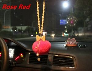 New Rose Red Car Mirror Pendant Acrylic Pearl Bowknot Decor Hanging Ornament