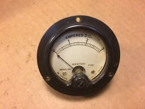 Antique Weston Model 506 Dc Amperes Meter Measures 0 3 Amps