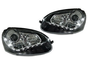 Depo Drl Led Projector Black Headlight For 05 10 Vw Jetta Golf Gti Mk v 5 rabbit