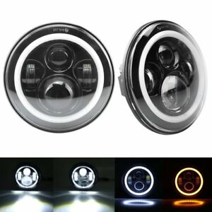 2x 7 Inch Round Led Headlights Halo Angle Eyes Hi Low Fit Jeep Wrangler Jk Lj Tj
