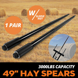 Two 49 3000 Lbs Hay Spears Nut Bale Spike Fork Pair Square Black Hay Attachment